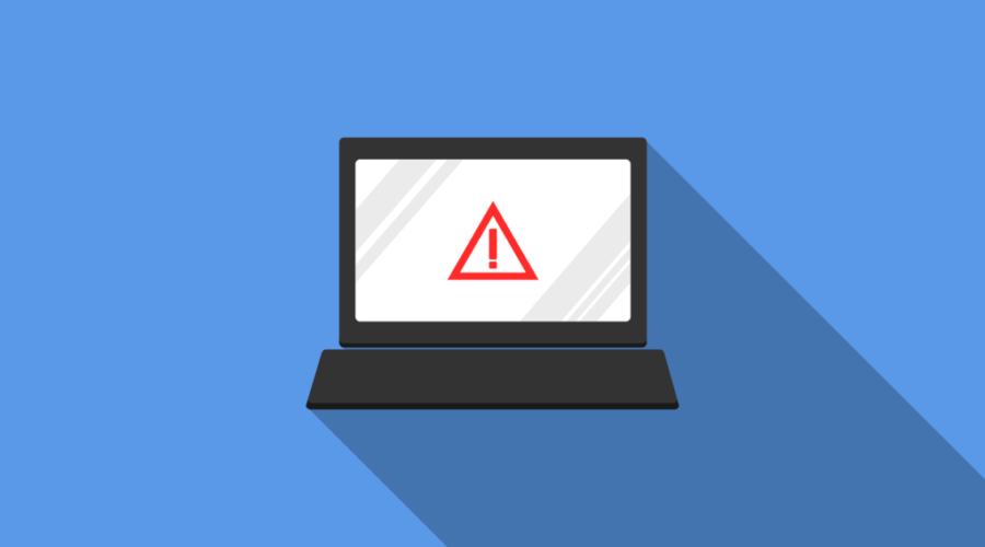 Graphic of a compter with a red warning symbol on the screen aginsta blue background